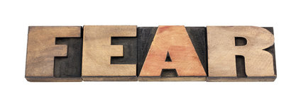 fear word isolated text in vintage letterpress wood type